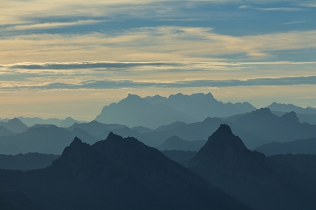 Morning scene on the Rigi, silhouettes of Mythen and other mountains Stock Photo