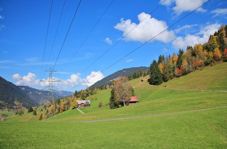 saanenland: Autumn landscape near Gstaad, Swiss Alps