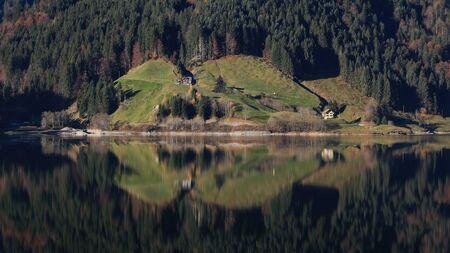 Idyllic scene at a lake in the Swiss Alps Stock Photo