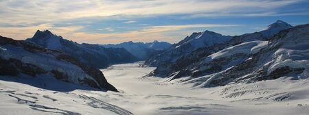 aletsch: Aletsch glacier and high mountains, view from the Jungfraujoch