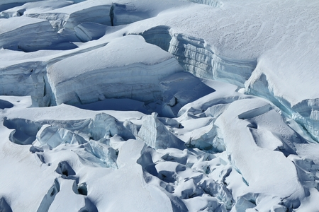 aletsch: Large crevasses and seracs on the Aletsch Glacier Stock Photo