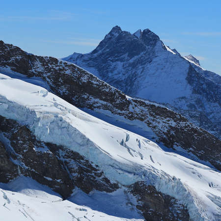 jungfraujoch: High mountain and glacier, view from the Jungfraujoch viewpoint