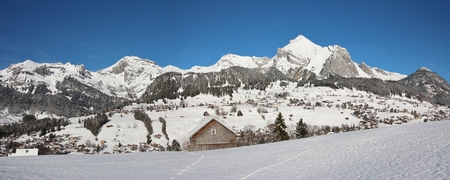 toggenburg: Snow covered Alpstein range, Mt Saentis
