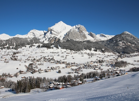 toggenburg: Onset of winter in Toggenburg, view of Mt Sntis