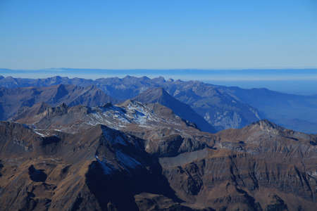 bernese oberland: Mountain ranges in the Bernese Oberland, view from Jungfraujoch