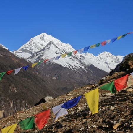 snow capped: Prayer flags and snow capped mountain in the Himalayas