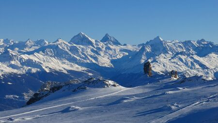 saanenland: Glacier De Diablerets and high mountains Stock Photo
