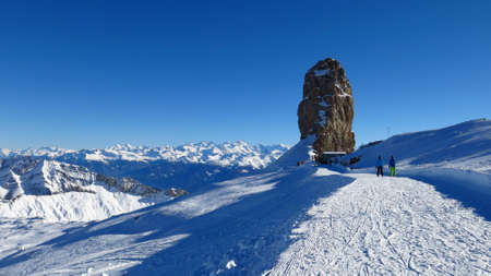 saanenland: Quille Du Diable, famous rock in the Swiss Alps Stock Photo