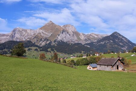 toggenburg: Rural landscape in the Toggenburg valley Stock Photo
