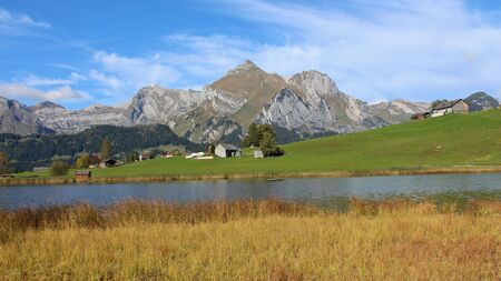 toggenburg: Idyllic landscape in the Toggenburg valley, Alpstein range Stock Photo