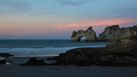 aotearoa: Sunset at Wharariki Beach