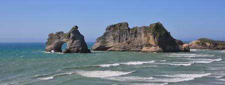 aotearoa: Unique islands at Wharariki Beach Stock Photo