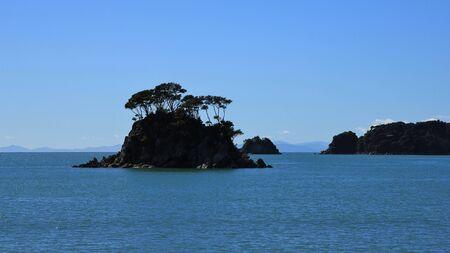 tasman: Back lit island with trees in the Abel Tasman National Park Stock Photo