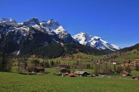 Idyllic village Gsteig bei Gstaad in spring