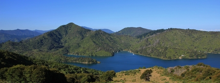 marlborough: Stunning view from the Queen Charlotte track. Trekking route in the Marlborough Sounds. Stock Photo