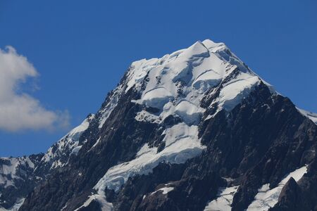 aotearoa: Peak of Mt Cook and glacier. Highest mountain in New Zealand.