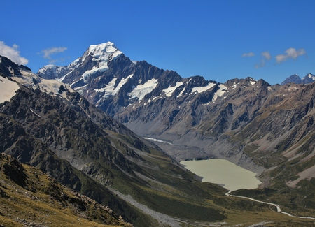 aoraki mount cook national park: View of Mount Cook. Glacier lake. Beautiful scenery on the way to the Mueller Hut, trekking destination.