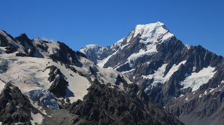 mackenzie: Mount Cook and glaciers. View from the Sealy Tarns Track.