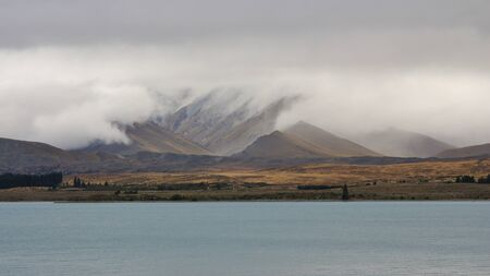 tekapo: Rainy day at Lake Tekapo, New Zealand.