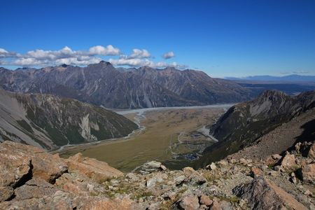aotearoa: Mount Cook village. View on the way to the Mueller Hut. Sealy Tarns Track.