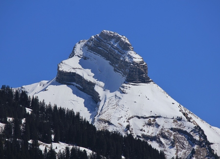 snow capped mountain: Snow capped mountain Mutteristock. Switzerland. Stock Photo