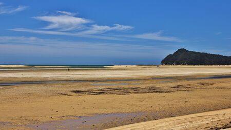 tasman: Scene in the Abel Tasman national Park, New Zealand. Sandy beach.