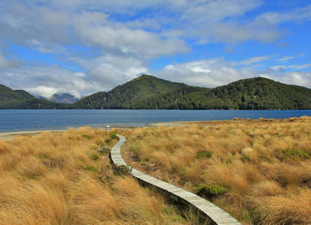 tramping: Scene at Green Lake, New Zealand, Dreamlike landscape. Curved gangplank leading to the lake. Tramping route in the Fjordland National Park. Stock Photo