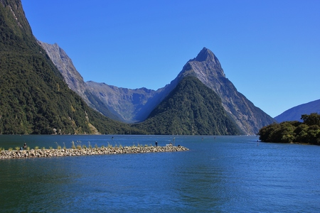 mitre: Famous travel destination in New Zealand. Mitre Peak and Milford Sound.