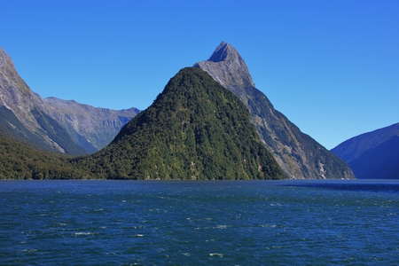 mitre: Majestic mountain Mitre Peak. Milford Sound, New Zealand. Stock Photo