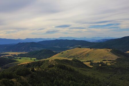 aotearoa: View from Mt Robert. Rural landscape on the South Island. Evening scene.