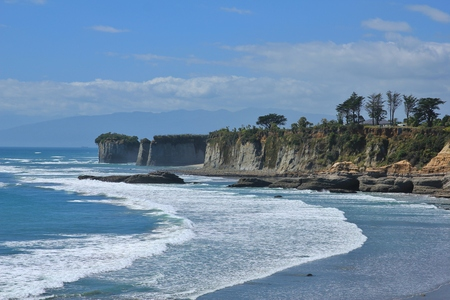Scene at Cape Foulwind, New Zealand. Cliffs and rocks.