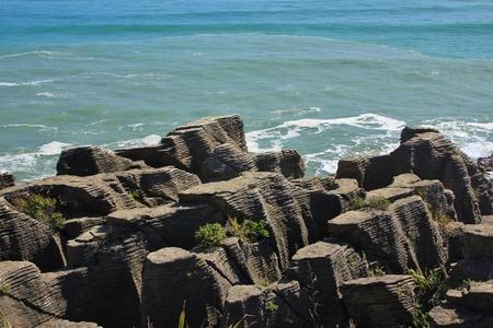 aotearoa: Unique rock formations in New Zealand. Pancake Rocks, Punakaiki.