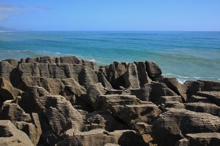 aotearoa: Rock formations in Punakaiki, New Zealand. Stock Photo