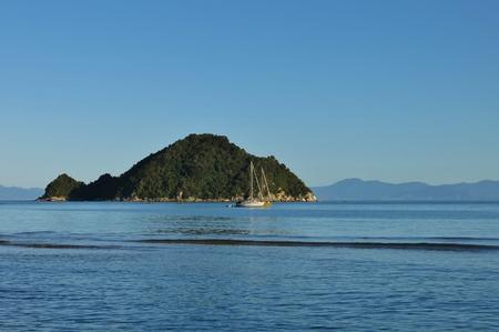 tasman: Small island in the Abel Tasman National Park, New Zealand. Stock Photo