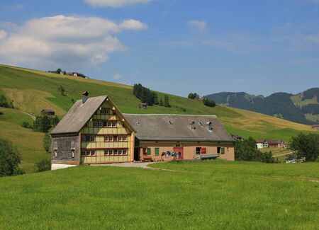 Typical architectural style in Appenzell. Old homestead. Editorial
