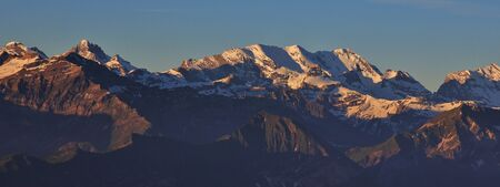 the bernese oberland: High mountains in the Bernese Oberland at sunrise. View from Mt Niederhorn.