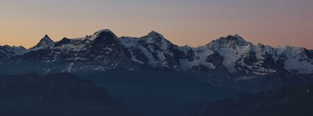 eiger: View from Mt Niederhorn, Beatenberg. High mountains Eiger Monch and Jungfrau. Morning scene. Stock Photo