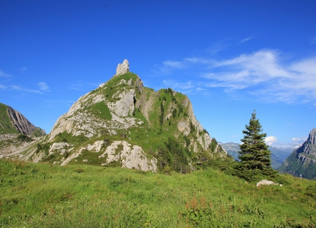 glarus: Mountain in Glarus Canton. Mt Dejenstogg in summer. Scene on a hiking route towards lake Klontalersee.