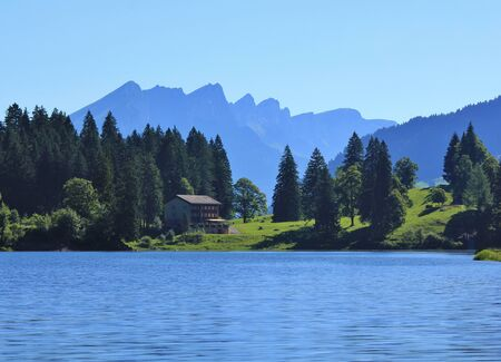 glarus: Lake Obersee, firs and mountains. Morning scene in Glarus Canton, Swiss Alps.