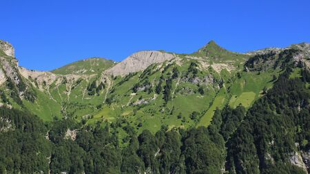 glarus: View from Schwammhohe. Steep farmland and mountain in Glarus Canton, Switzerland. Stock Photo