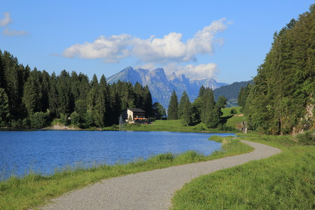 glarus: Trail leading around lake Obersee. Summer scene in Glarus Canton, Switzerland.
