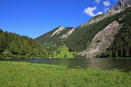 glarus: Landscape in Glarus Canton, Swiss Alps. Lake Obersee. Stock Photo
