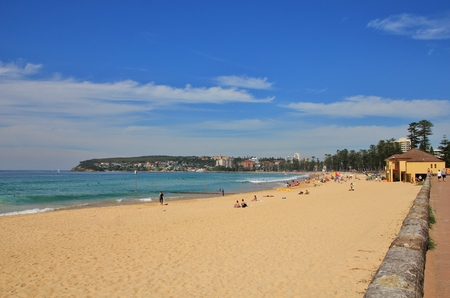 manly: Popular Manly Beach, Sydney. Blue Pacific.