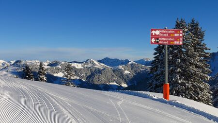 gstaad: Signboard on top of Mt Wispile, ski area in Gstaad.