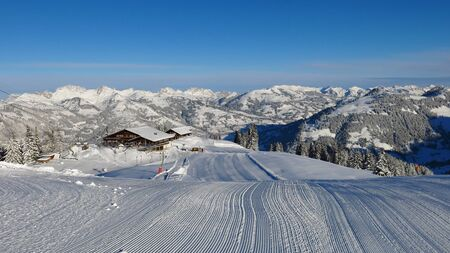 gstaad: Summit station of the Wispile ski area. Winter landscape in Gstaad, Switzerland. Ski slope. Editorial