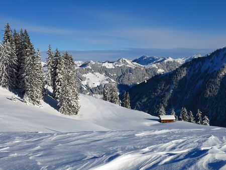 gstaad: Winter landscape in Gstaad, Switzerland. View from Mt Wispile.