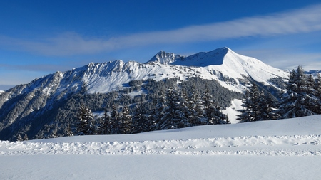 saanenland: View from Mt Wispile, Gstaad. Mt Lauenenhorn. Winter landscape in Gstaad. Stock Photo