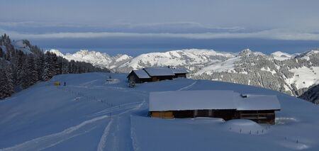 gstaad: Winter landscape near Gstaad, Swiss Alps. View from Mt Wispile.