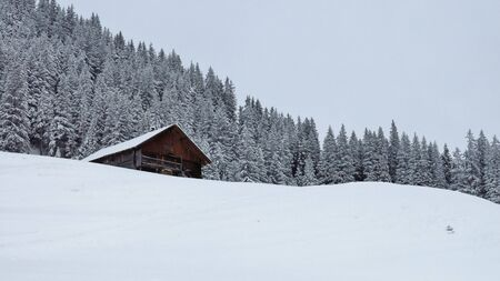 gstaad: Winter landscape near Gstaad. Nature background.