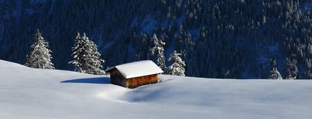 Winter scene in Gstaad, Switzerland. Stock Photo
